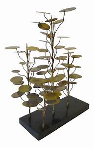 abstract metal tree sculpture on stone base chairish With kitchen cabinet trends 2018 combined with metal tree wall art sculpture