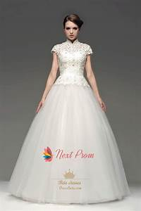 high neck floor length ball gown lace wedding dress with With high neck wedding dress with sleeves