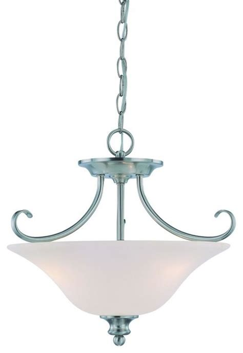 three light satin nickel bowl semi flush mount