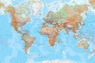 Physical World Map Mural Wallpaper