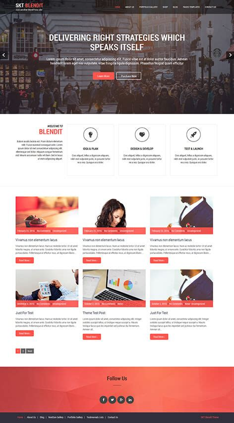 Wp One Page Themes Free One Page Theme For One Page Websites Skt