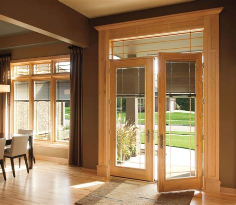 wood patio doors with built in blinds pull out clothes