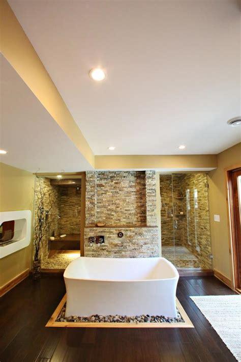 contemporary spa bathroom  stone accent wall soaking