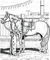 Cowboy Coloring Pages Cowgirl Getdrawings Horse sketch template