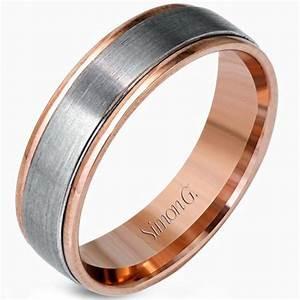 simon g white and rose gold two tone men39s wedding ring With wedding rings rose gold white gold