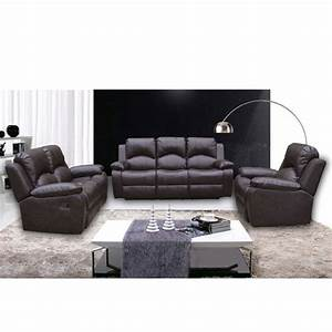 Antasia bonded leather 3 and 2 seater sofa set in brown for Eurodesign brown leather 5 piece sectional sofa set