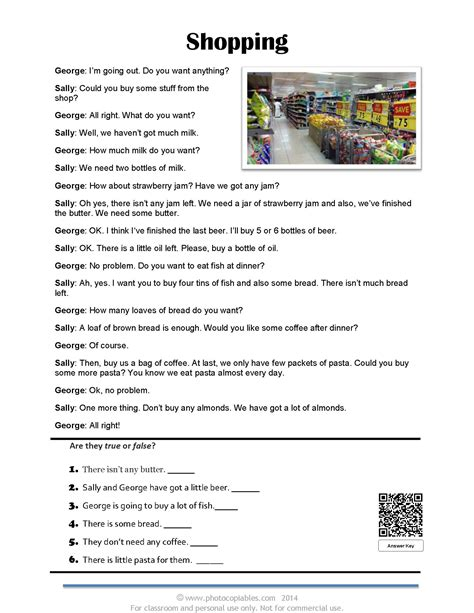 countable  uncountable nouns reading text quiz