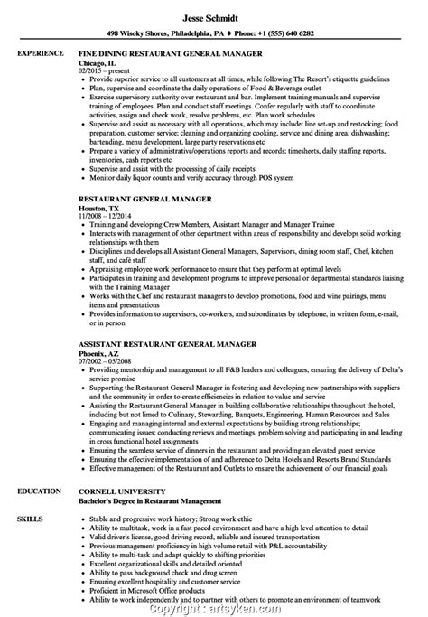General Manager Resume Sles by Executive Restaurant General Manager Duties Resume