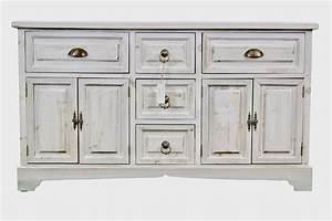 Meuble Bas Bois : meuble bas rangement bois ceruse blanc 5 tiroirs ~ Teatrodelosmanantiales.com Idées de Décoration