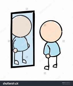 Clipart man looking in a mirror