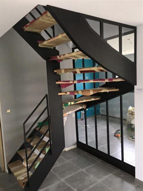 escalier bois et metal obasinc