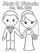 Coloring Wedding Personalized Bride Groom Pages Printable Party Activity Pdf Colouring Crafts Favor Childrens  Clipart Etsy Books Favors Kid sketch template