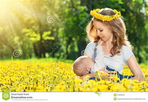 Mother Feeding Her Baby In Nature Green Meadow With Yellow