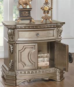 acme, northville, antique, champagne, nightstand, with, wooden, top