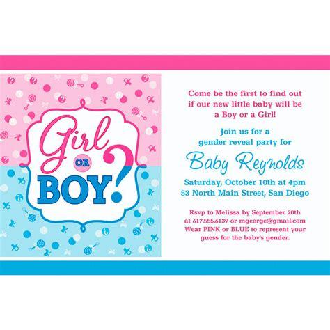 custom girl  boy gender reveal invitation party