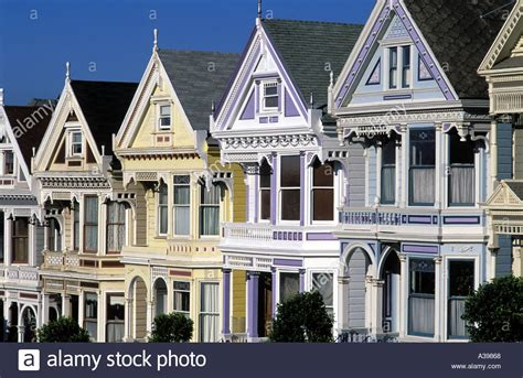 Usa San Francisco Row Of Victorian Houses On Steiner
