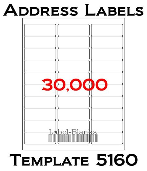 avery 5160 template for pages laser ink jet labels 1000 sheets 1 x 2 5 8