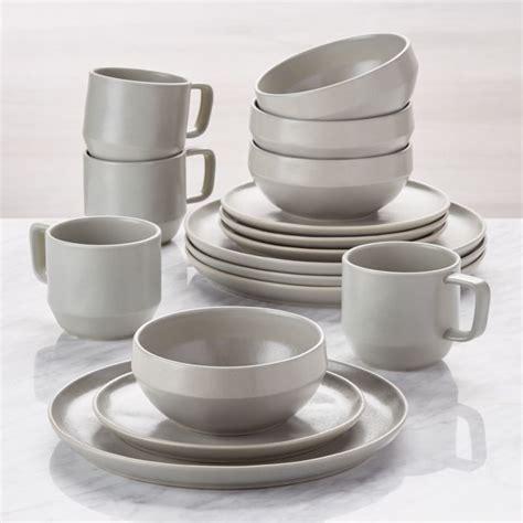 stoneware dinnerware grey crate visto sets piece barrel crateandbarrel dinner dish plates earthenware ceramic tableware mugs canada