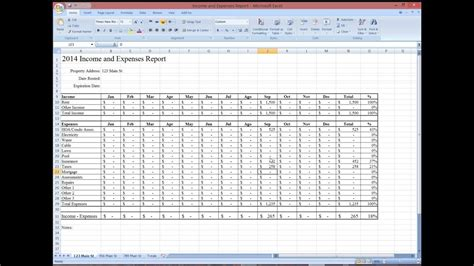 tips property management income  expense report