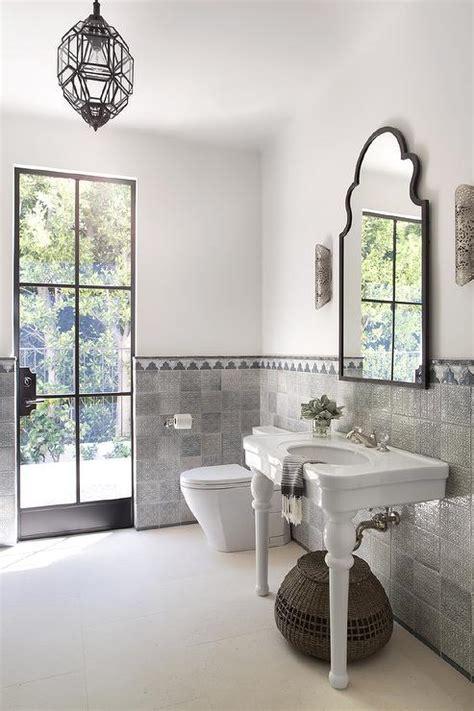 white and gray moroccan style bathroom mediterranean bathroom
