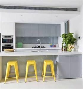 quelle couleur mettre avec une cuisine grise With deco cuisine avec chaise grise et blanche
