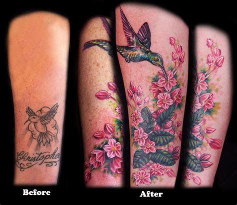 Hummingbird Cover Up Tattoo by Before And After Tattoo Cover Up Tattoo Colorful