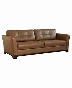 Martino leather sofa 90quotw x 37quotd x 35quoth couches sofas for Macy s orange sectional sofa