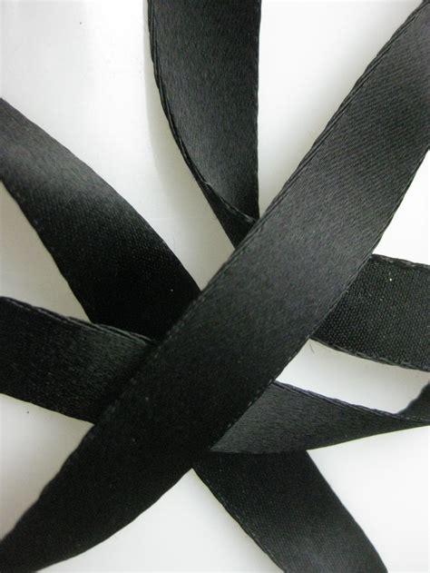 Vintage 30s French black satin ribbon cotton back rayon 5 ...