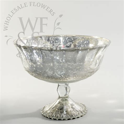 bowl vase silver glass pedestal bowl wholesale flowers and supplies