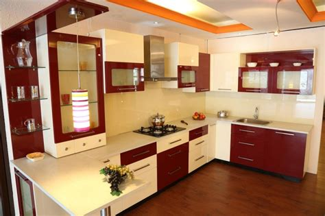 Open Kitchen Cabinet Ideas - small kitchen interior indian style home design