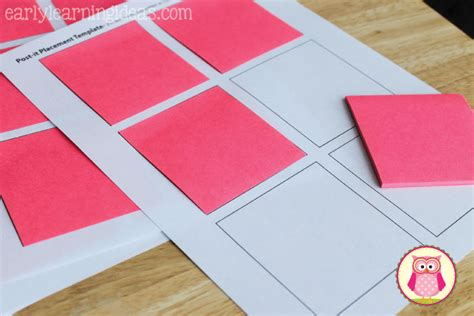 post it note template post it note targets for sight word practice early learning ideas