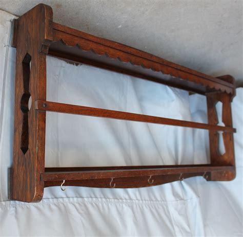 bargain johns antiques antique wall mount mission oak plate rack shelf arts crafts