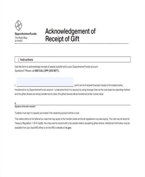 gift receipt templates  sample  format