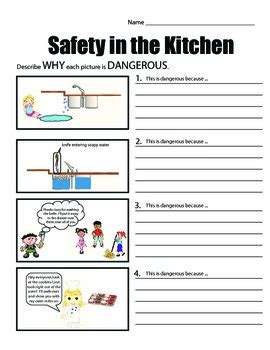 worksheets on health and safety in the kitchen safety in the kitchen common safety scenarios by