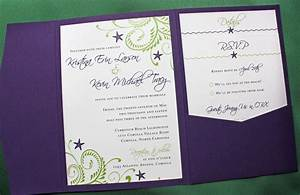 purple green swirls and starfish beach wedding With lavender beach wedding invitations