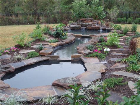 natural pond landscaping home garden ideas large