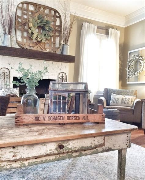 rustic livingroom with tobacco basket bless this nest tobacco basket