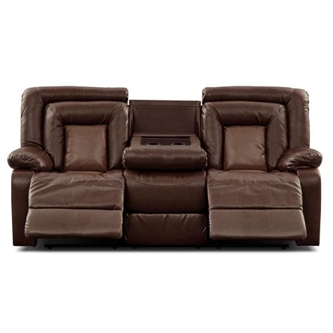 Leather Dual Reclining Loveseat With Console by Cobra Leather Dual Reclining Sofa Value From