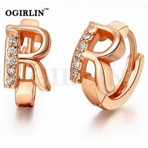 hot sale 18k rose gold earring fashion crystal letter quotr With rose gold letter earrings