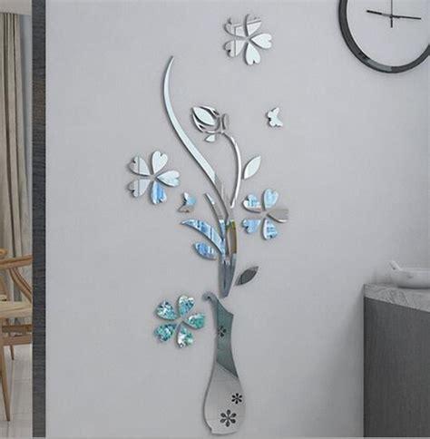 Espejo De Cristal Florero Decorativo Pared Flores Jarron