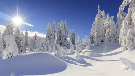 Wallpaper Winter, Snow, Mountains, Sun, 4k, Nature, #5219