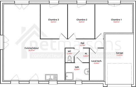 maison 3 chambres plans maison plain pied 3 chambres maison moderne