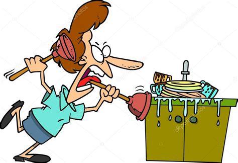 dessin animé cuisine dessin animé bouché un évier de cuisine image