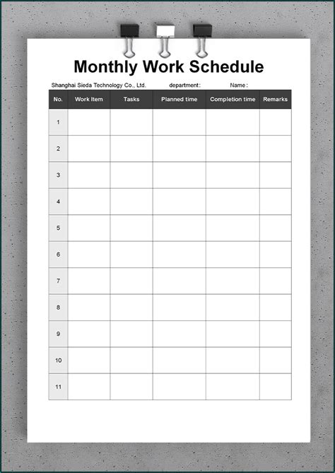 printable monthly work schedule template bogiolo