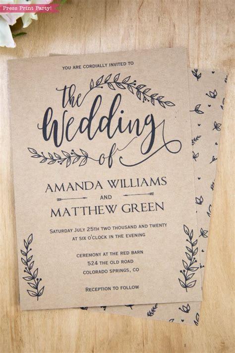 Rustic Wedding Invitation Printable (Leaf Design) & Decor
