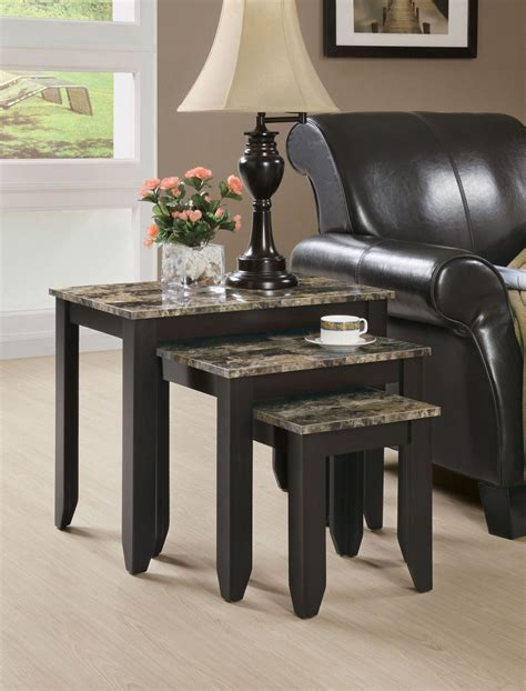 5 out of 5 stars with 1 ratings. Monarch Specialties NESTING TABLE - 3PCS SET / CAPPUCCINO / MARBLE LOOK TOP - Home - Furniture ...
