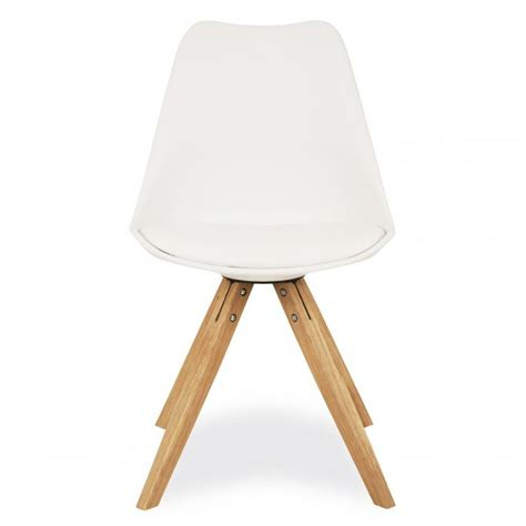 charles eames style white dining chair with pyramid style
