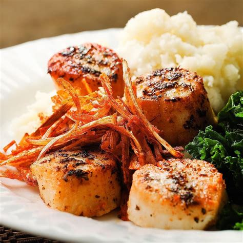 seared scallops seared scallops with crispy leeks recipe eatingwell