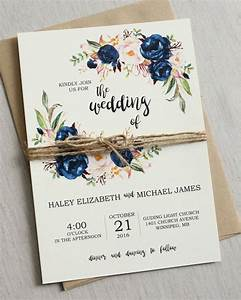 rustic navy wedding invitation printable modern bohemian With modern wedding invite wording ideas
