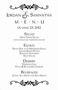 wedding menu templates perfect and easy menus for your With menu templates for weddings